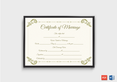 Blank Fillable Marriage Certificate Format