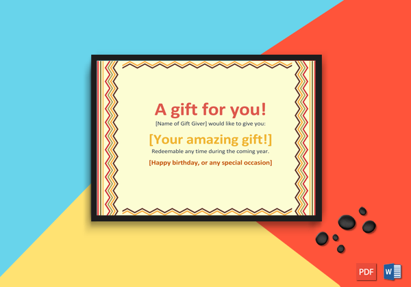 Printable Gift Certificate Template (Colorful Border Lines)