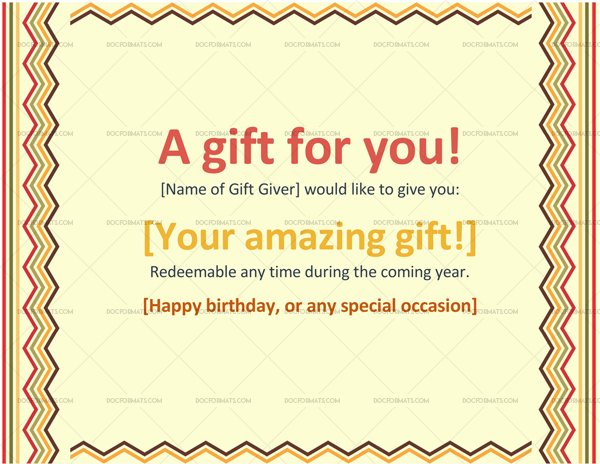 Gift Certificate Format (Colorful Border Lines)