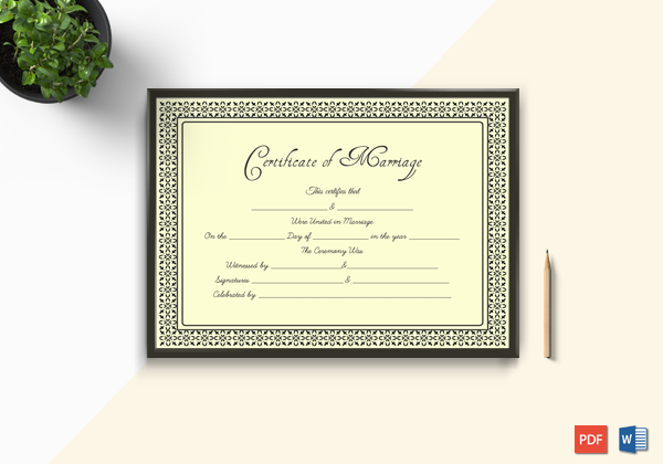 Formal Marriage Certificate Design Template In Psd Word: Marriage Certificate Format In Word (Dark, Gold)