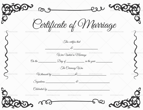 Marriage Certificate Format (Black)