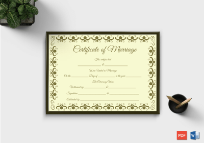 Marriage Certificate Template in English