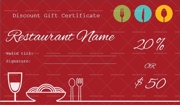 Restaurant Gift Certificate Template Word Doc Formats - Restaurant gift certificate template