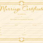 Golden Formal Blank Marriage Certificate Template (Word Print)