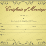 Golden Formal Marriage Certificate Template (Word & PDF)