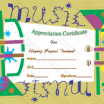 Appreciation Certificate Template (Music Green, Editable in Word Doc)