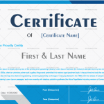 1 Award Certificate Template (Blue, Printable and Editable)