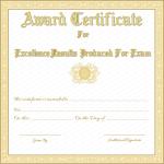 1 Award Certificate Template (Golden, Word Doc)