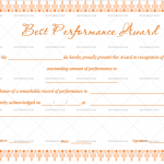 Best Performance Certificate Template (Peach, Printable and Editable)
