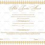 Best Teacher Award Certificate Template (Brown, Printable and Editable)