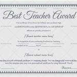 Best Teacher Award Certificate Template (Indigo, Printable teacher performance certificate in Word)