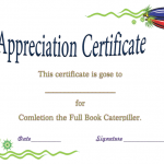 Appreciation Certificate Template (Book, Editable in Word Doc)