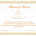 Award of honor Template (Brown, Printable in Word)