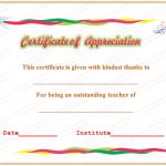 Appreciation Certificate Template (Outstanding, Design in Word)