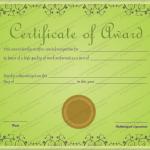 12 Award Certificate Template (Green, award certificate design)