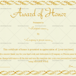 Award of Honor Template (Loops, Certificate of Excellence)