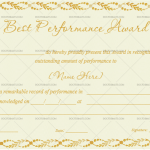 Best Performance Certificate Template (Leafs, Certificate of Excellence)