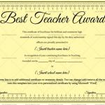 Best Teacher Award Certificate Template (Pretty Black, Fillable Template)