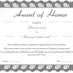 Award of honor Template (Formal, Fillable Template)