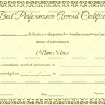 Best Performance Certificate Template (Nude Green, Fillable Template)