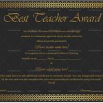 Best Teacher Award Certificate Template (Golden Black, Blank Design)