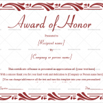 Award of Honor Template (Red, Blank Design )