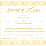Award of Honor Template  (Gold & White, Customize in Word)