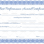 Best Performance Certificate Template (Blue, Printable in Word)