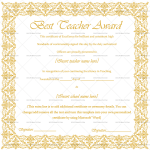 Best Teacher Award Certificate Template (Gold, Certificate of Excellence)