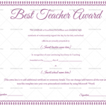 Best Teacher Award Certificate Template (Purple, Fillable Template)