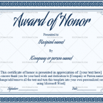 4 Award of Honor Template (Blue Pattern, Fillable Template)