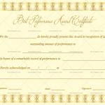 Best Performance Certificate Template (Golden, Fillable Template)