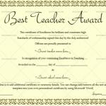 5-Best Teacher Award Certificate Template (Warm Green, Customize in Word)