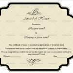 Award of honor Template  (Black, Customize in Word)