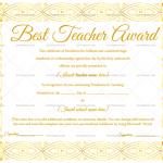 Best Teacher Award Certificate Template (Elegant, Editable Certificate)