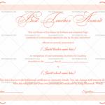 Best Teacher Award Certificate Template (Pink, Printable Blank Certificate)