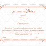 Award of honor Template (Pink, Printable Blank Certificate)