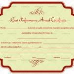 Best Performance Certificate Template (Red, Blank Award Certificate)