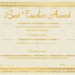 Best Teacher Award Certificate Template (Stars, Printable and Editable)