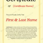 Award Certificate (Golden, Customize in Word)