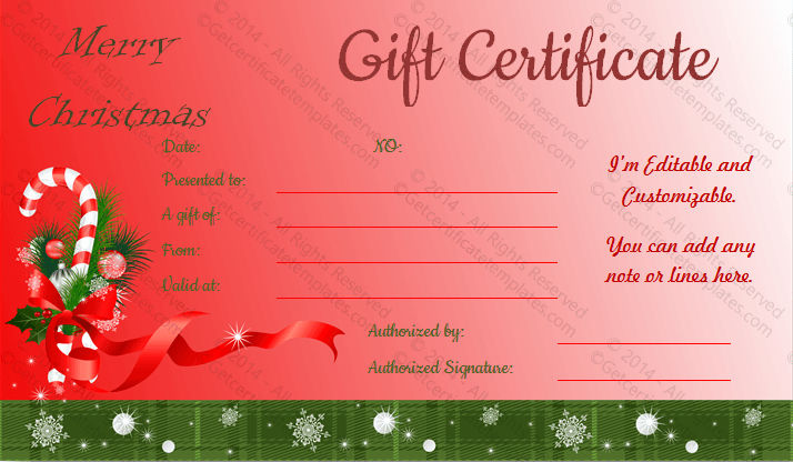 Christmas Gift Certificate Template.Ribbon Design Christmas Gift Certificate Template Editable
