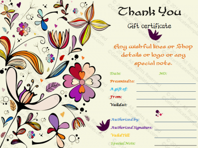 Thank You Gift Certificate Template - (Editable & Printable Designs)
