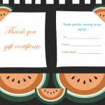 Thank You Gift Certificate Template (Watermelon, Customizable Template)