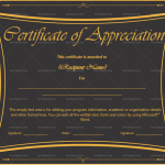 Certificate of Appreciation Template (Black, for employees)