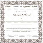 Certificate of Appreciation Template (Dark Brown, for employees)