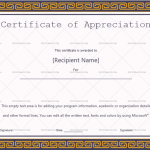Certificate of Appreciation Template (Golden, Blank Design)
