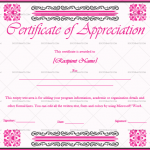 Certificate of Appreciation Template (Pink, Fillable Template)