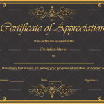 Certificate of Appreciation Template (Royal Black ,Customize in Word )