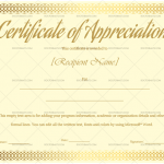 Certificate of Appreciation Template (Skin, for employees)
