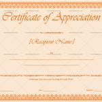 Certificate of Appreciation Template(Orange,Printable in Word )